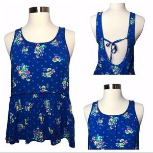 Hollister Blue Floral Tank Top With Open Back S